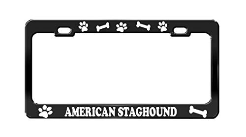 Product Express American Staghound Dog Paw Print License Plate Frame Tag Cover & Holder Black 1