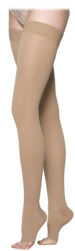 860 Select Comfort 30-40 mmHg Open Toe Unisex Thigh High Sock with Waist Attachment Size: S4, Leg: Left
