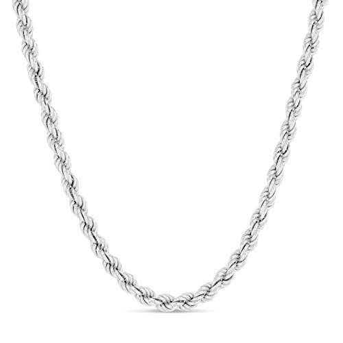 Orostar Sterling Silver 2mm and 2.5mm Diamond-Cut Rope Chain Italian Necklace, 14-36 Inch (30, 3MM)