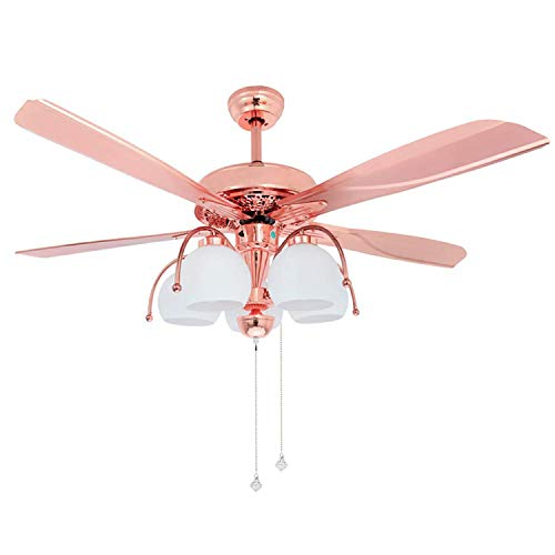 Tropicalfan Metal Ceiling Fan With Remote Control 5 Glass Light Cover Home Decoration Living Room Bedroom 5 Reversible Blades Quiet Fans Chandelier Rose Gold (5 Lights)