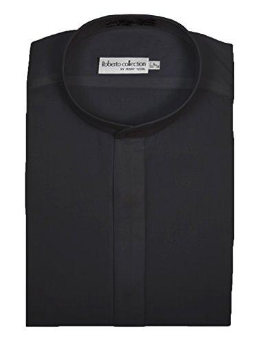 Henry Segal Men's Banded Collar Dress Shirt, Black 4XL 34/35