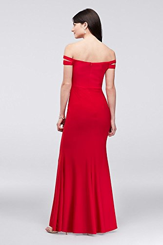 Off Dress Sheath Shoulder Style 408X Jersey Double The Strap Red afqwUa5