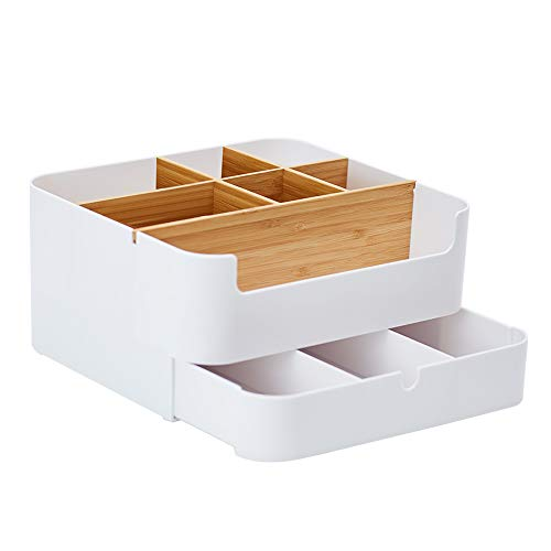 (ZEN'S BAMBOO Makeup Organizer with Drawer Multipurpose White Plastic Office Storage Box(7 Cell))