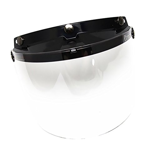 otorcycle 3 Snap-Button Visor with Flip-up Mirror Shield - Clear (Snap Visor)