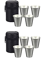 QYCX Shot Glasses Set-8 Pcs Shot Glasses, Shot Glass, Portable Stainless Steel Shot Cups with Carrying Case-70ml(2.3oz) Drinking Vessel, Drinking Mug, Drinking Tumbler, Camping Shot Glass Gifts for Travel Outdoor