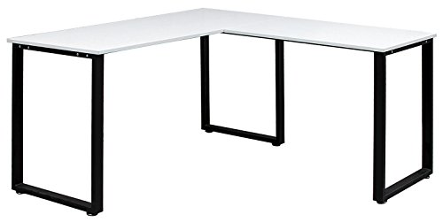Bon Amazon.com: Merax 59u201d L Shapped Desk With Metal Legs Office Desk Corner  Computer Desk PC Laptop Table Workstation , White Finish: Kitchen U0026 Dining