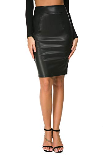 Womens Faux Leather Pencil Skirt Slim Fit Elegant Stretch High Waist Midi Bodycon Skirts Black