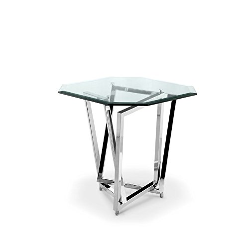 Magnussen Square End Table - Magnussen Lenox Square Octagonal End Table in Nickel