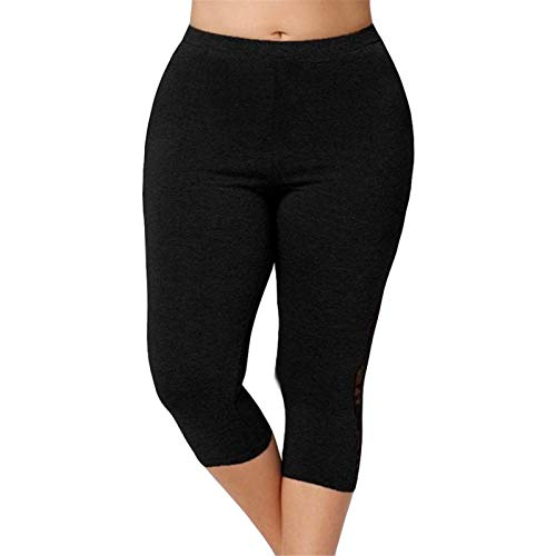 Thenxin Plus Size Cropped Yoga Leggings for Women Ultra Thin Stretch Short Pants with Lace Panel(Black,M)