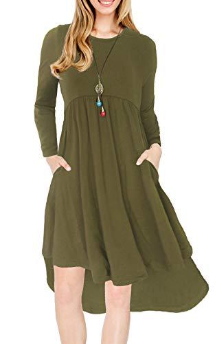 Heat Move Women Long Sleeve Pleated T-Shirt Dress Pockets Loose Knee Length Swing Dress (L, Army Green)