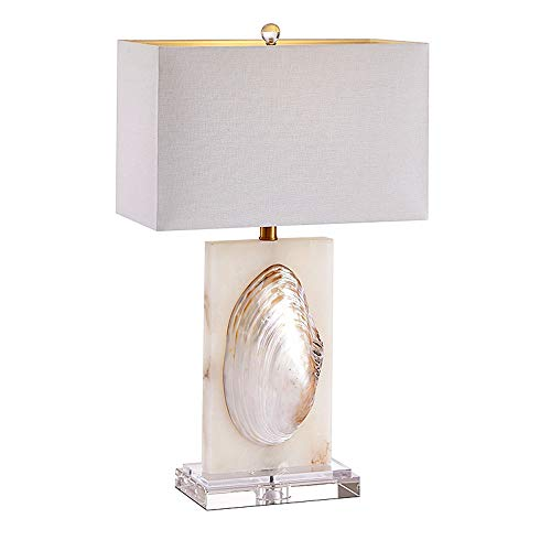 (Carl Artbay American Modern Crystal Shell Bedside Lamp, Fabric Lampshade, Creative Glass Base Bedroom Table Lamp for Living Room Study Office Home Decor Club, E27, Push Button Switch, 220V)