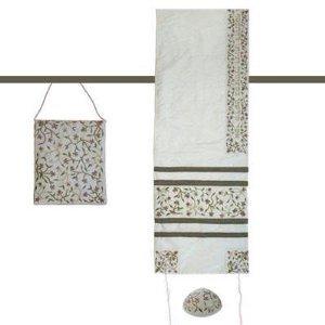 - Embroidered Raw Silk Women Tallit Prayer Shawl Set - Tallisack - Flowers White