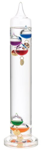 River City Clocks 13 Inch Liquid Galileo Thermometer with Five Multi-Color Floats and Gold Tags - Model # L3839G