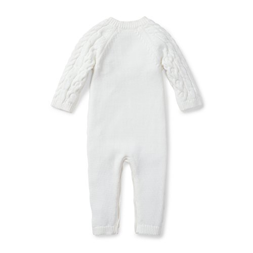 Hope Henry Layette Cable Knit Sweater Romper Made With Organic