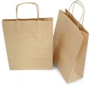 Unbranded/Generic Brown Kraft Paper Handle Shopping Bags 13x7x17 (Pack of 250) from Generic