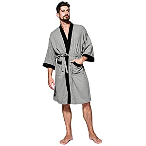 Semir Men's Kimono Robe Cotton Waffle Spa Bathrobe Lightweight Soft Knee Length Sleepwear with Pockets