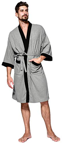 Mens Waffle Robe - Mens Robe Lightweight Summer Cotton Short Kimono Bathrobe Spa Waffle Bath Rob Knee Length Sleepwear Soft Robes with Pockets for Men Size XL