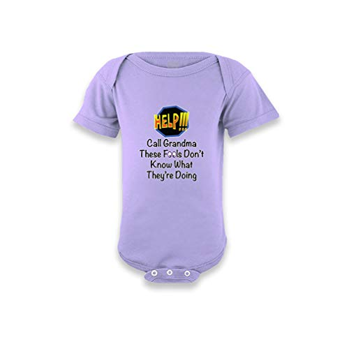 Help! Call Grandma These Fools Don't Know What They're Doing Short Sleeve Boys-Girls Cotton Baby Bodysuit One Piece - Lavender, 6 Months