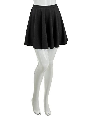 Lock and Love WB1580 Womens Verstaile Stretchy Flared Casual Skater Skirt - Made in USA L Black by Lock and Love (Image #3)