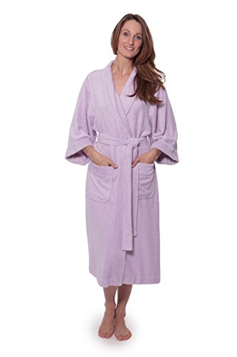 Texere Women's Terry Cloth Bathrobe (Ecovaganza, Lavender Fog, Large/X-Large) Best Gifts for Valentine's Day Anniversary WB0101-LVF-LXL