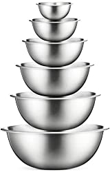 The versatility of premium quality lightweight stainless steel mixing bowls by FineDine are endless. This commercial quality mixing bowls set doubles as serving bowls, and are your essential tools in the kitchen. Made of durable construction that doe...