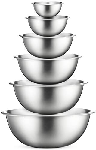 Premium Stainless Steel Mixing Bowls (Set of 6) Brushed Stainless Steel Mixing Bowl Set - Easy To Clean, Nesting Bowls for Space Saving Storage, Great for Cooking, Baking, Prepping ()