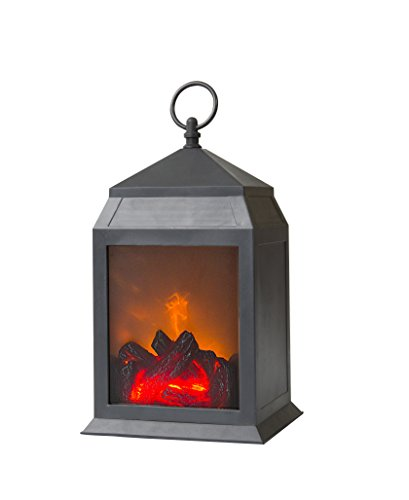 12″ H Decorative Black Fireplace Lantern and Battery Operated and 6 Hour Timer Included-Plastic Material-Portable Fireplace-Indoor/Outdoor