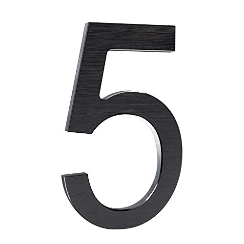 6 Inch Modern House Numbers- Premium Aluminum Floating Home Address Number with Elegant & Sophisticated Brushed Finish, Black, Number 5