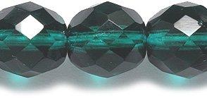 Preciosa Czech Fire 10mm Polished Glass Bead, Faceted Round, Transparent Deep Emerald, 40-Pack