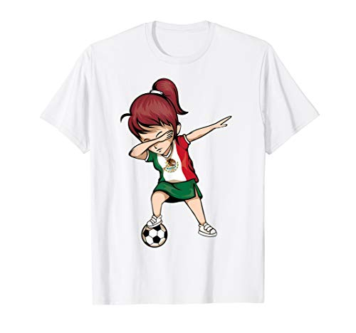Dabbing Soccer Girl Mexico Jersey Shirt - Mexican Football