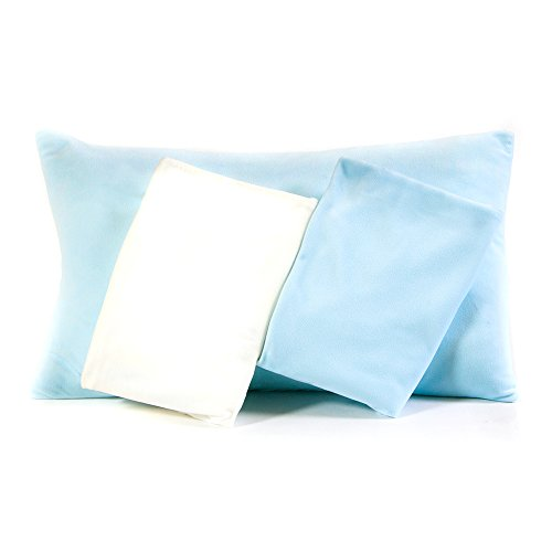 2 Blue/1 White Snuggle Toddler Pillowcases, Super Soft Ultra Plush, Snuggly Blanket-Like Material,Fits 13x18 and 14x19 Toddler and Travel Pillows, Envelope Style Closure, 3 Pack by Maddie Moo