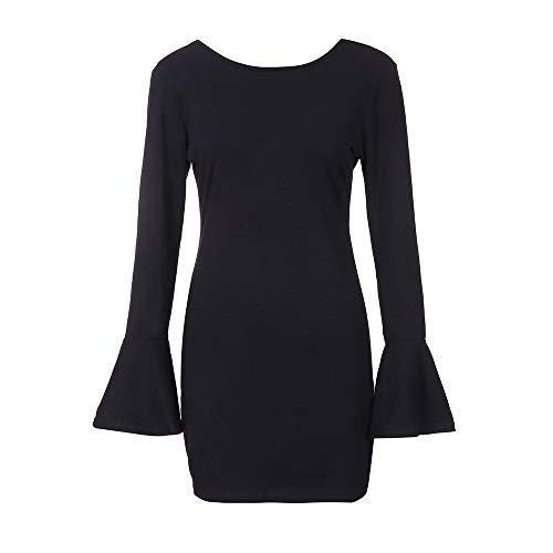 Manche Longue Robe Casual Cou Dames Longue Cloche Robe ete Femme Blanche Noir Discount Femme Noir Mini Robes Rond sans 540Tqw6npx