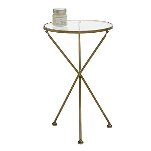 HANSHAN Side Table Geometric Glass Metal Side End Table Stand Living Room Sofa Side Table Modern Bedside Table (Color : Gold, Size : 15.7415.7424.40in)