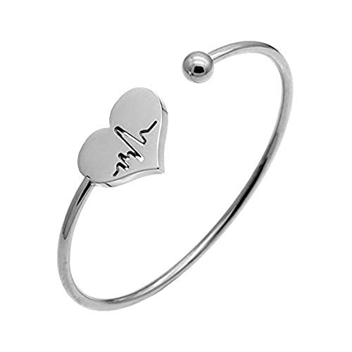 Silver Bangle Heart Open - AILUOR Nurse Bracelet, Heartbeat EKG Adjustable Silver Gold Open Cuff Heart Bangle Bracelet (Silver)