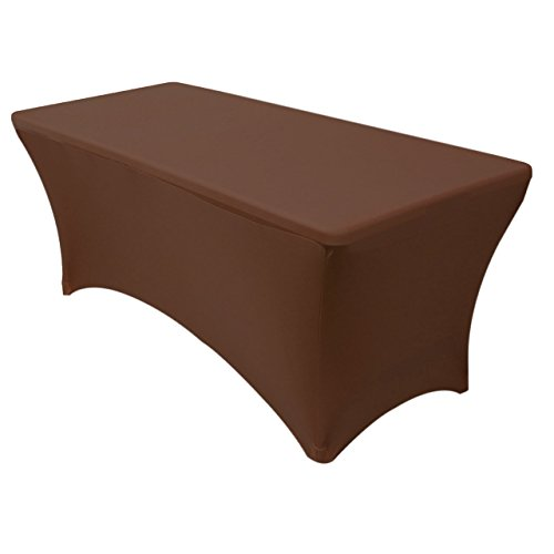 - Your Chair Covers - Stretch Spandex 8 ft Rectangular Table Cover Chocolate Brown, 96