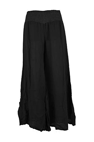 TEXTURE Ladies Women Italian Lagenlook Elasticated Waistband Wide Leg Flared Linen Trouser Culottes Pants One Size (Black, One Size)