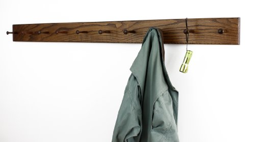 Shaker Peg Rails (Solid Oak Xtra-Wide Shaker Peg Rack -Made In The USA - Walnut Stain 58 x 4.5 Inches with 10)