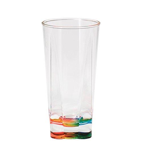Merritt Rainbow Crystal Clear Acrylic Tumbler, 16-Ounce, Set of - Bottom Glasses Clear