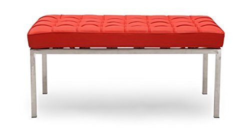 Kardiel Florence Knoll Style Bench 2 Seater, Red Premium ()