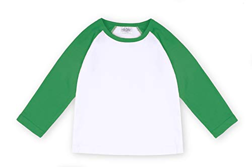 Spring Baseball Shirt - CloudCreator Toddler Baby Girls Boys Long Sleeve Shirts Raglan Shirt Baseball Tee Cotton T-Shirt (Green, 5 Years)
