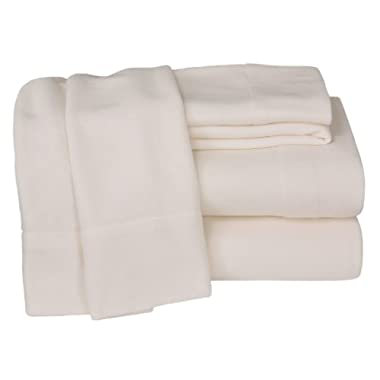 Elite Home Winter Nights Fleece Extra Plush 4-Piece Sheet Set, King, Ivory