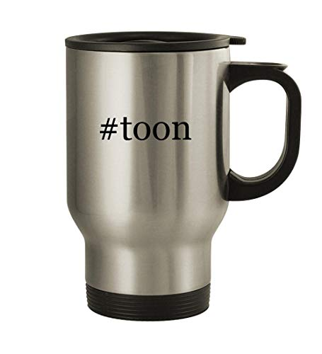 #toon - 14oz Hashtag Stainless Steel Travel Mug, Silver (Yugioh Block Defense)