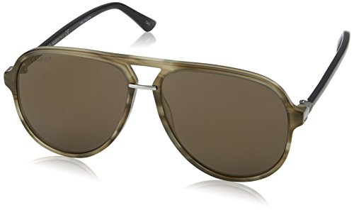 Gucci 0015S 004 Havana 0015S Aviator Sunglasses Lens Category 3 Lens Mirrored - Sunglasses Gucci Mirrored