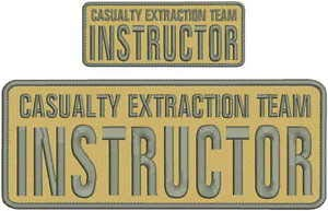 Team Instructor Embroidery Patches 4X10 and 2X5 Hook Grey by HighQ Store ()