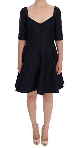 Dolce & Gabbana Black Blue Brocade Stretch Shift Dress
