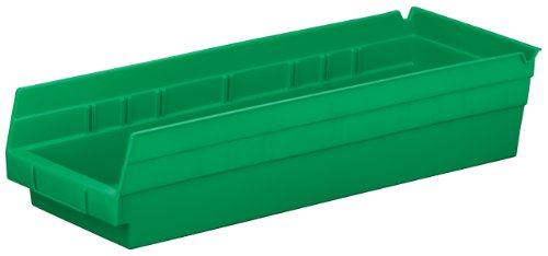 Akro-Mils 30138 18-Inch by 6-Inch by 4-Inch Plastic Nesting Shelf Bin Box, Green, Case of 12 ()