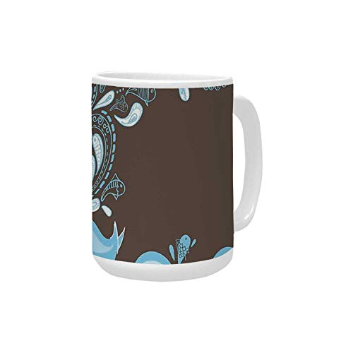 Whale Ceramic Mug,Baloon Like Whale in the Ocean with Bubbles Cartoon Batik Tribal Style Image for Home,15OZ ()
