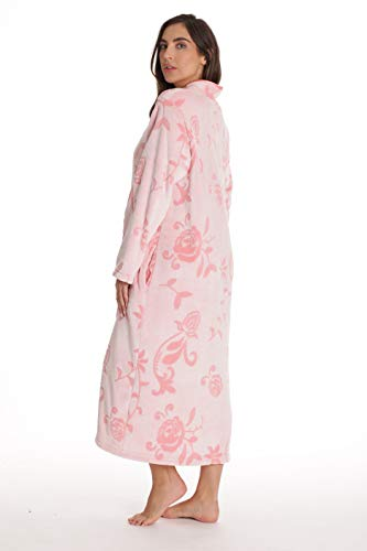 Just Love Floral Jaquard Plush Zipper Lounger Robe for Women with Pockets