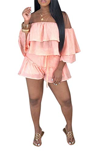 Women Sexy Off Shoulder Shirt Ruffled Short Sleeve Tops 2 Piece Outfits High Waisted Shorts Pants Set Plus Size Club ()