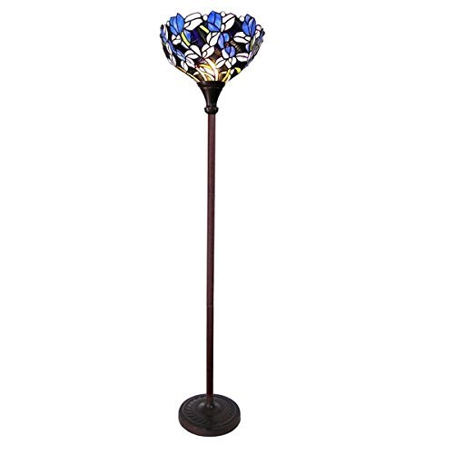 Chloe Tiffany Style Tulip Floral Design 1-light Antique Bronze Floor Lamp/Torchiere (Floral Torchiere)